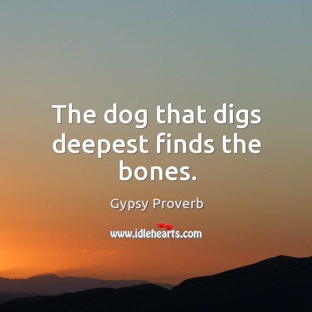 The dog that digs deepest finds the bones. Gypsy Proverbs Image