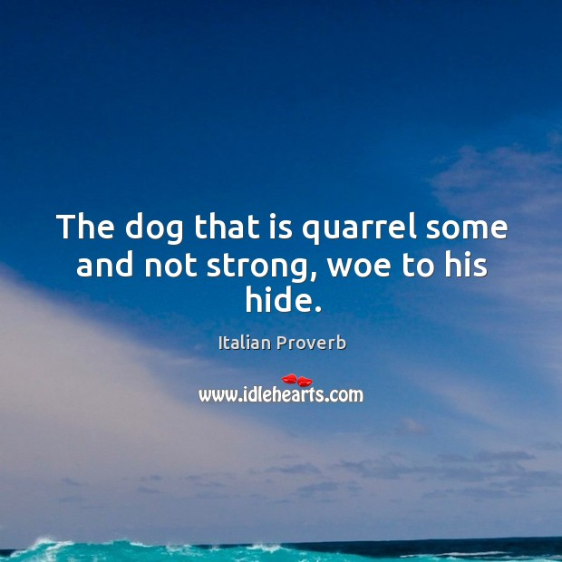 Image, The dog that is quarrel some and not strong, woe to his hide.