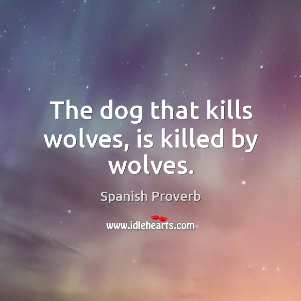 Image, The dog that kills wolves, is killed by wolves.
