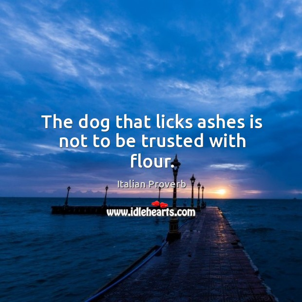 Image, The dog that licks ashes is not to be trusted with flour.