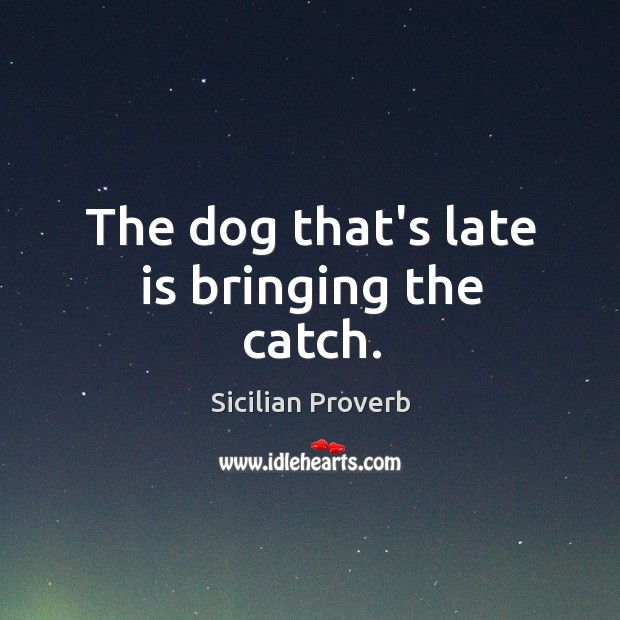 Image, The dog that's late is bringing the catch.