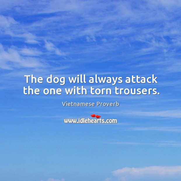 The dog will always attack the one with torn trousers. Vietnamese Proverbs Image