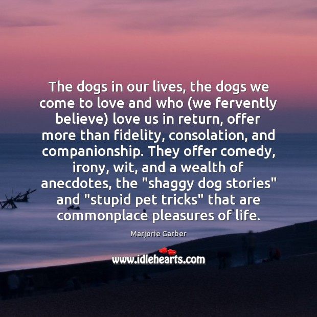 The dogs in our lives, the dogs we come to love and Marjorie Garber Picture Quote