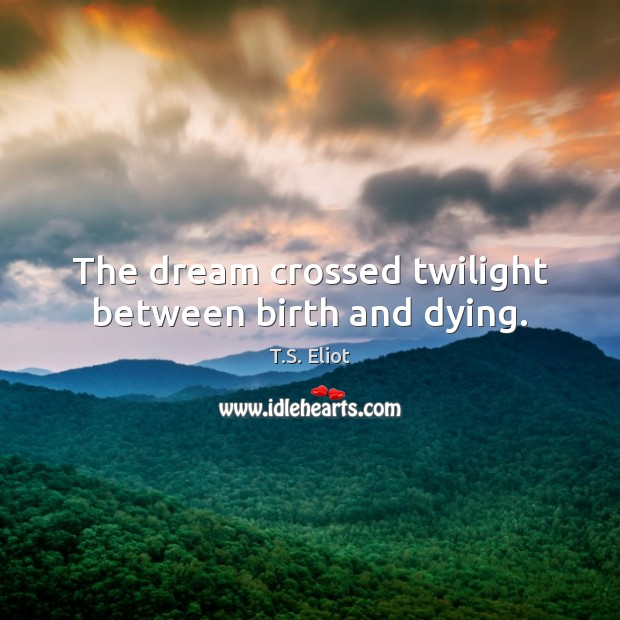 The dream crossed twilight between birth and dying. Image