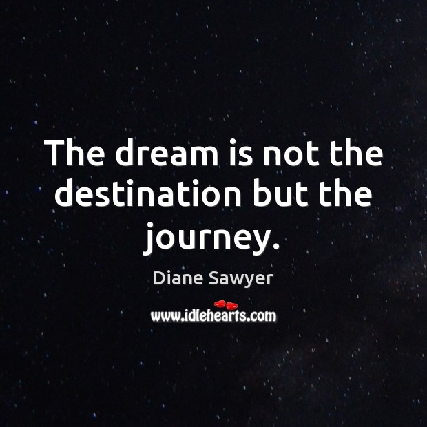 The dream is not the destination but the journey. Dream Quotes Image