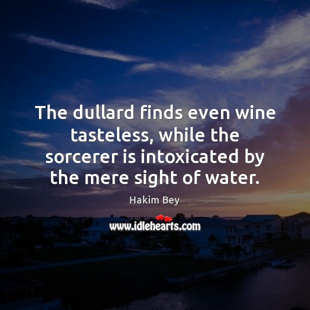 The dullard finds even wine tasteless, while the sorcerer is intoxicated by Hakim Bey Picture Quote
