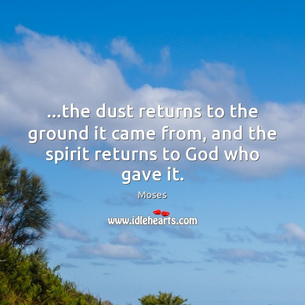 …the dust returns to the ground it came from, and the spirit returns to God who gave it. Image