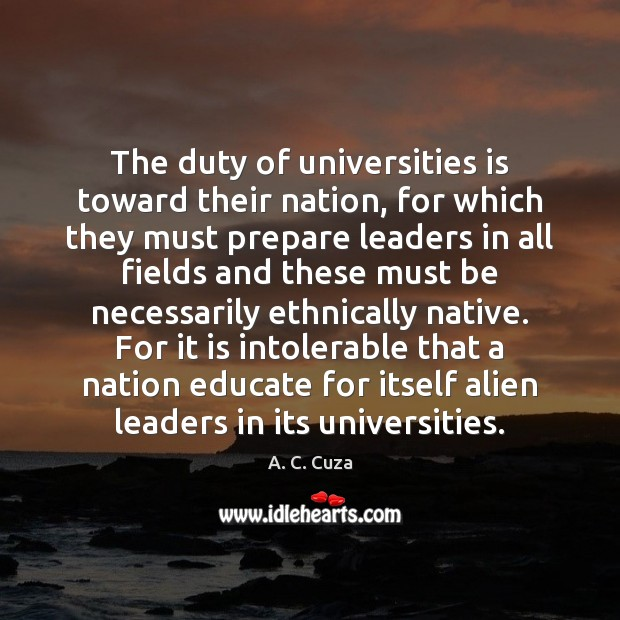 The duty of universities is toward their nation, for which they must Image