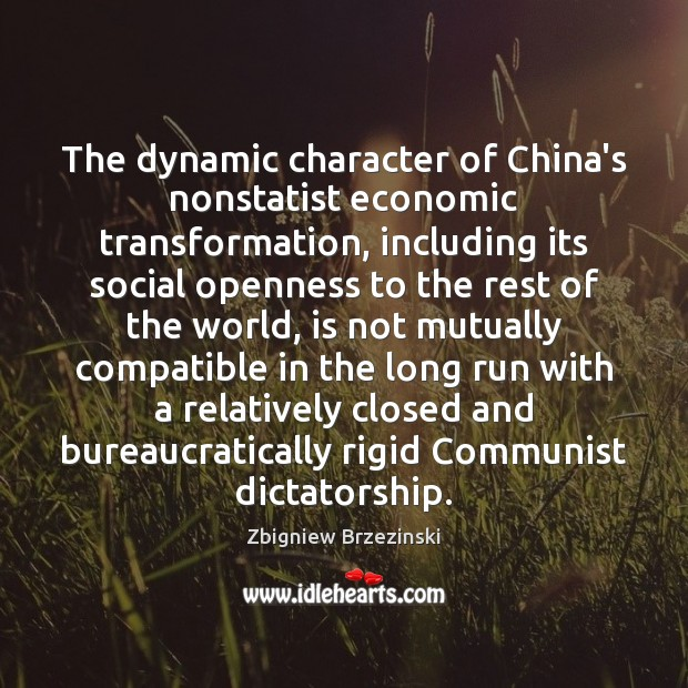The dynamic character of China's nonstatist economic transformation, including its social openness Image