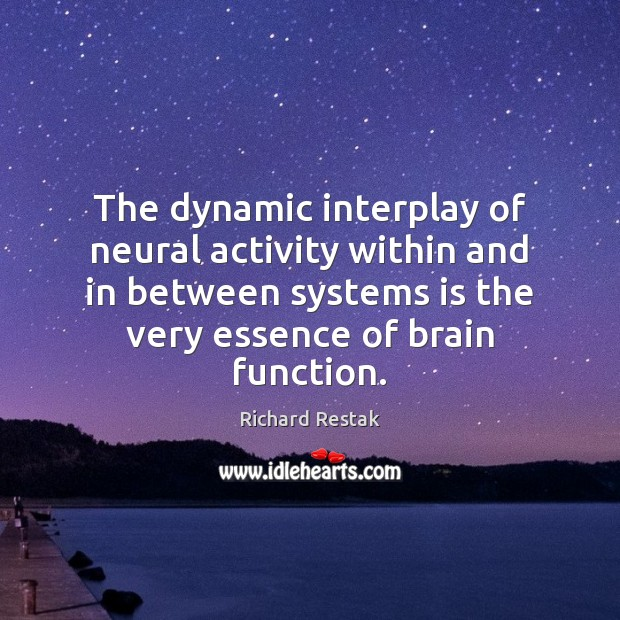 The dynamic interplay of neural activity within and in between systems is Richard Restak Picture Quote