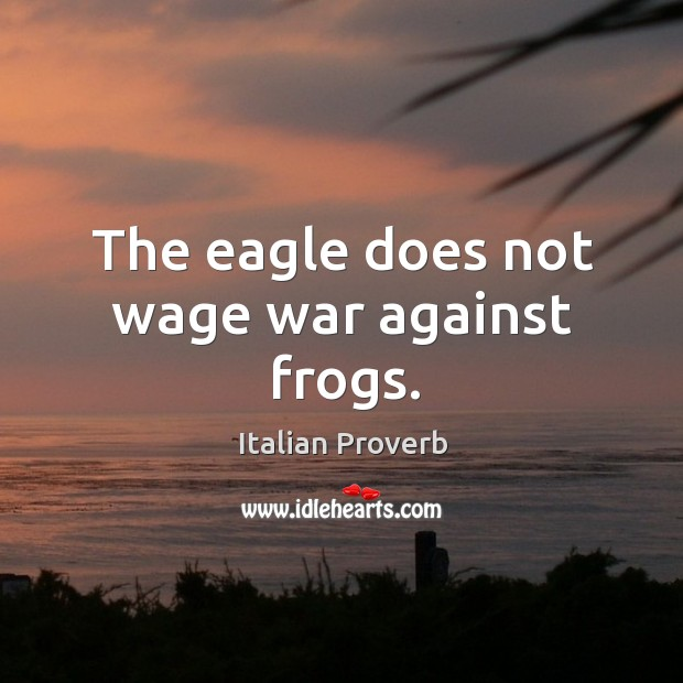 Image, The eagle does not wage war against frogs.
