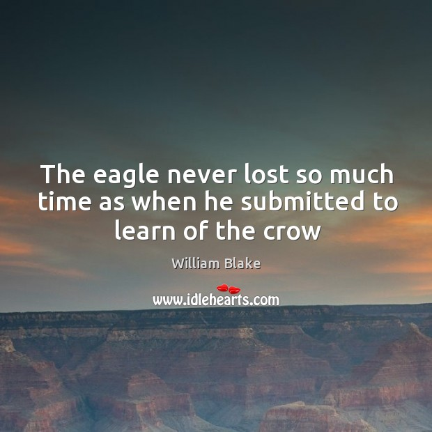 The eagle never lost so much time as when he submitted to learn of the crow Image