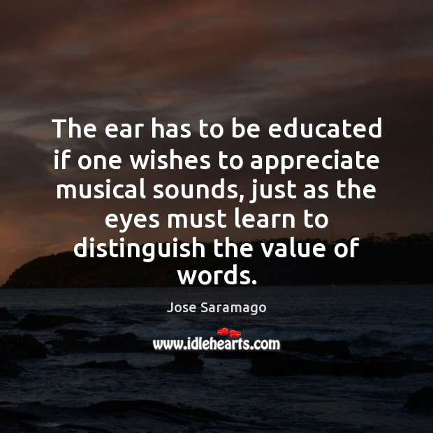 Image, The ear has to be educated if one wishes to appreciate musical