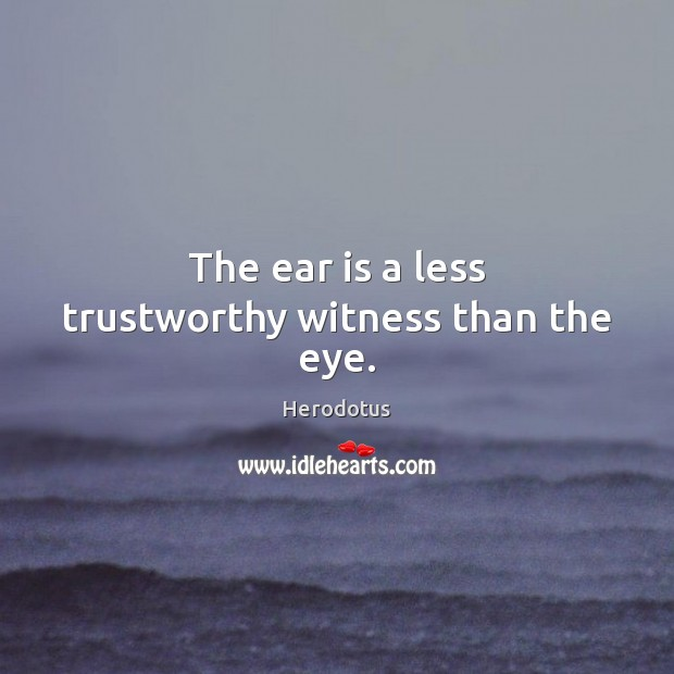 Image, The ear is a less trustworthy witness than the eye.
