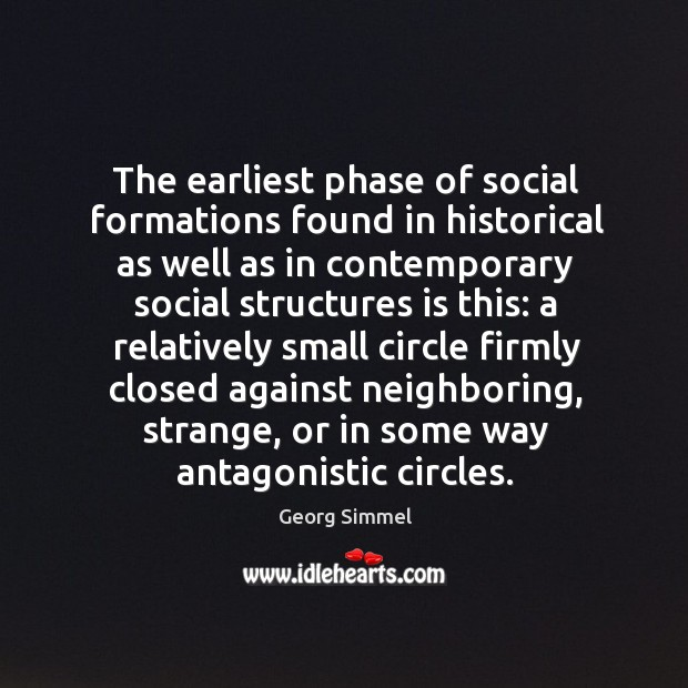 The earliest phase of social formations found in historical as well as in contemporary social structures is this: Image
