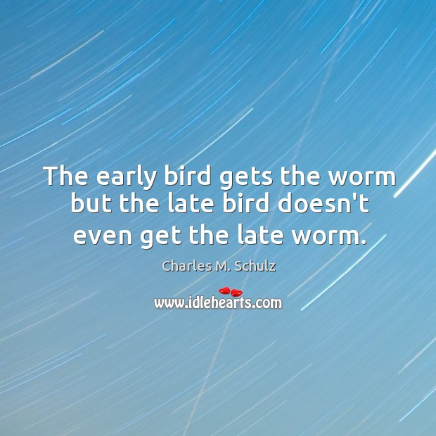 Image, The early bird gets the worm but the late bird doesn't even get the late worm.