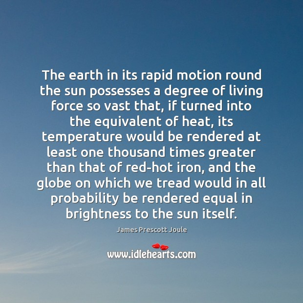 The earth in its rapid motion round the sun possesses a degree Image
