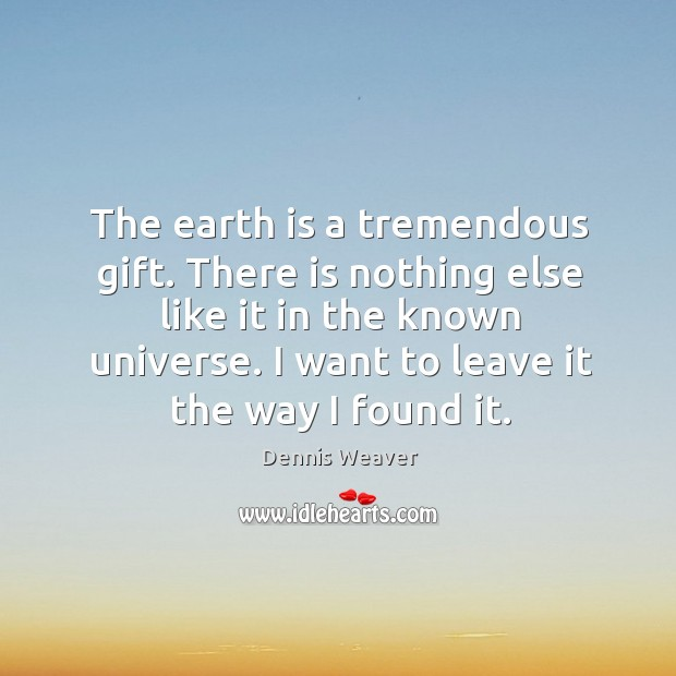 The earth is a tremendous gift. There is nothing else like it in the known universe. I want to leave it the way I found it. Image