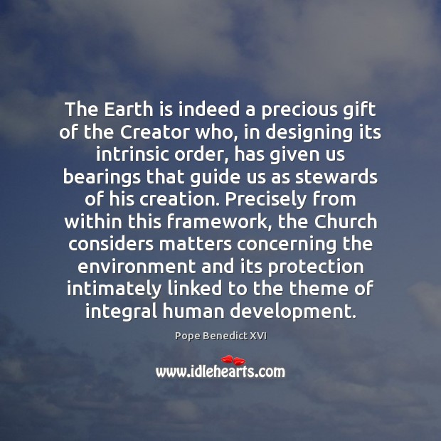 The Earth is indeed a precious gift of the Creator who, in Image