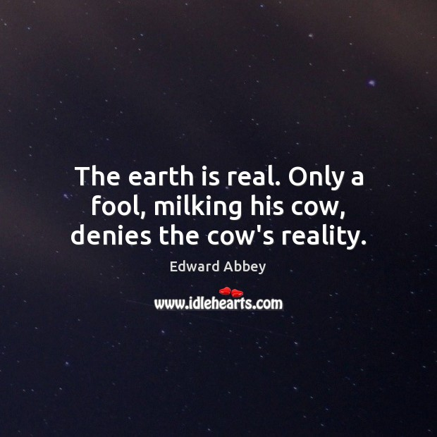 The earth is real. Only a fool, milking his cow, denies the cow's reality. Image