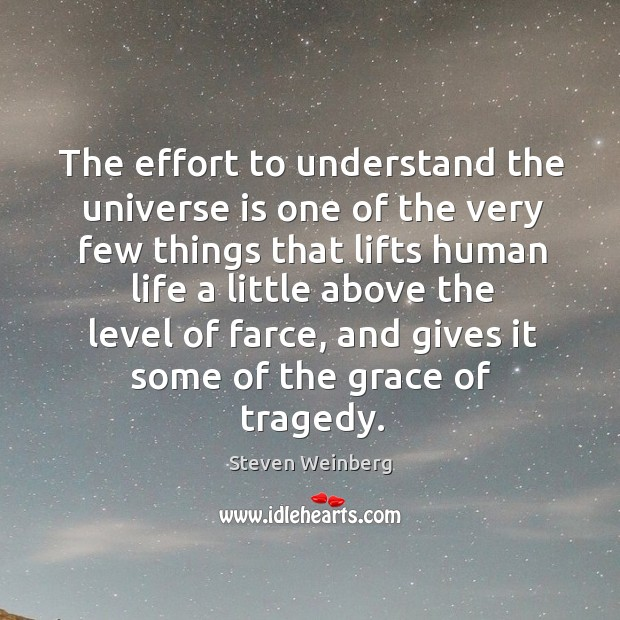 The effort to understand the universe is one of the very few things that lifts human life Steven Weinberg Picture Quote