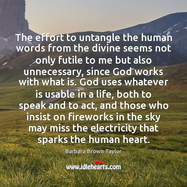 The effort to untangle the human words from the divine seems not Barbara Brown Taylor Picture Quote