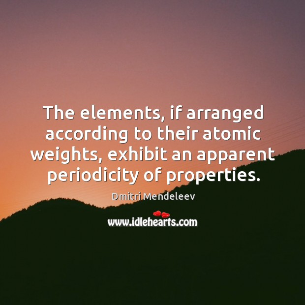 The elements, if arranged according to their atomic weights, exhibit an apparent Image