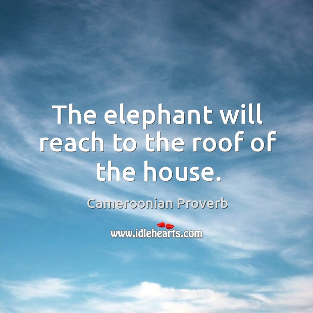 The elephant will reach to the roof of the house. Cameroonian Proverbs Image