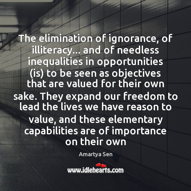 Image, The elimination of ignorance, of illiteracy… and of needless inequalities in opportunities (