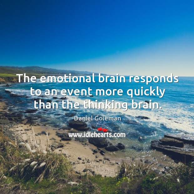 The emotional brain responds to an event more quickly than the thinking brain. Image