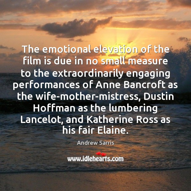 Image, The emotional elevation of the film is due in no small measure