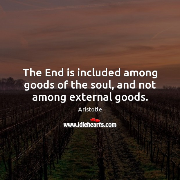 Image, The End is included among goods of the soul, and not among external goods.