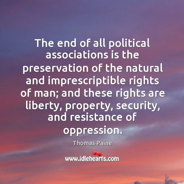 Image, The end of all political associations is the preservation of the natural