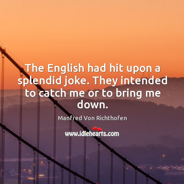 The english had hit upon a splendid joke. They intended to catch me or to bring me down. Image