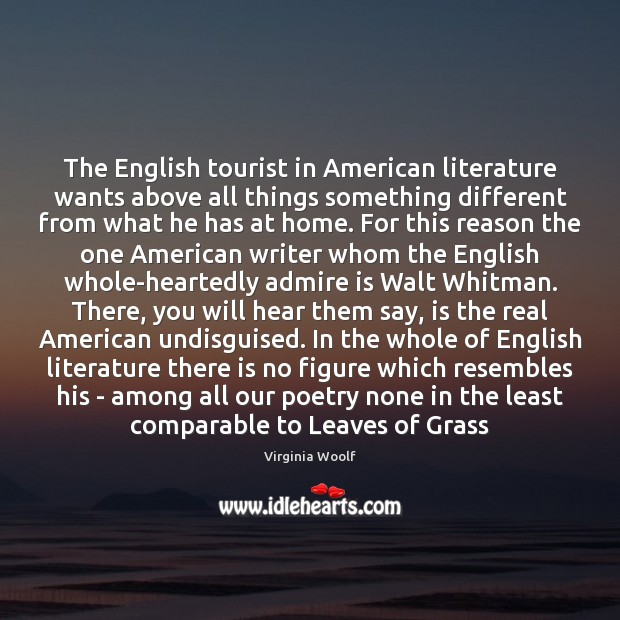 Image, The English tourist in American literature wants above all things something different