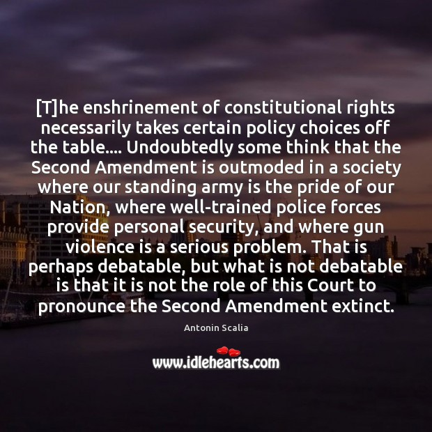 Image, [T]he enshrinement of constitutional rights necessarily takes certain policy choices off