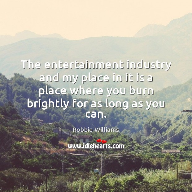 The entertainment industry and my place in it is a place where Robbie Williams Picture Quote