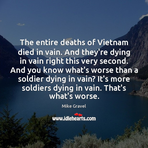 The entire deaths of Vietnam died in vain. And they're dying in Image