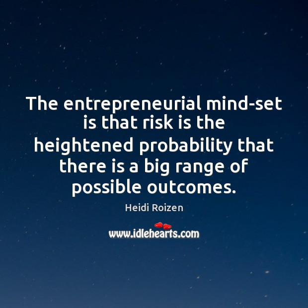 The entrepreneurial mind-set is that risk is the heightened probability that there Image