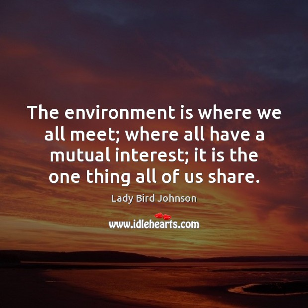 The environment is where we all meet; where all have a mutual Lady Bird Johnson Picture Quote