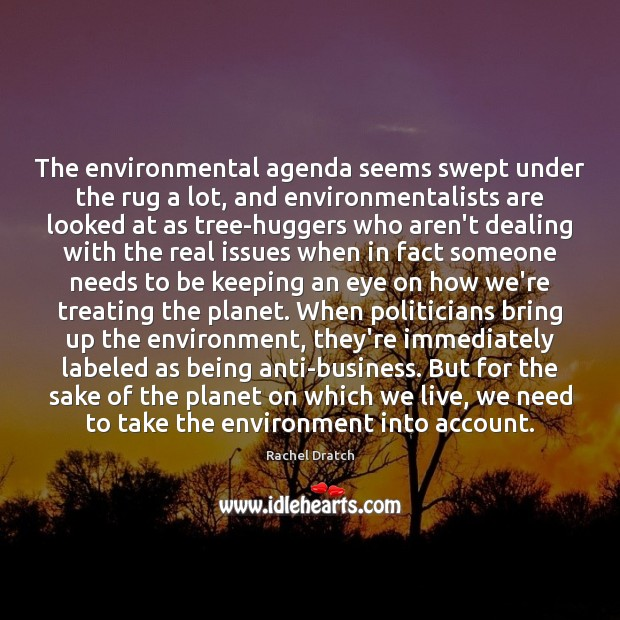 The environmental agenda seems swept under the rug a lot, and environmentalists Image