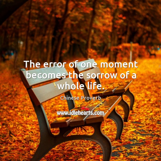 Image, The error of one moment becomes the sorrow of a whole life.