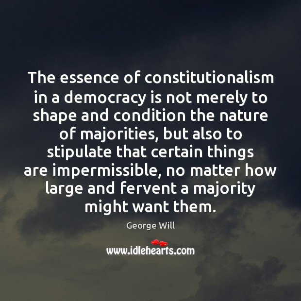 The essence of constitutionalism in a democracy is not merely to shape Image