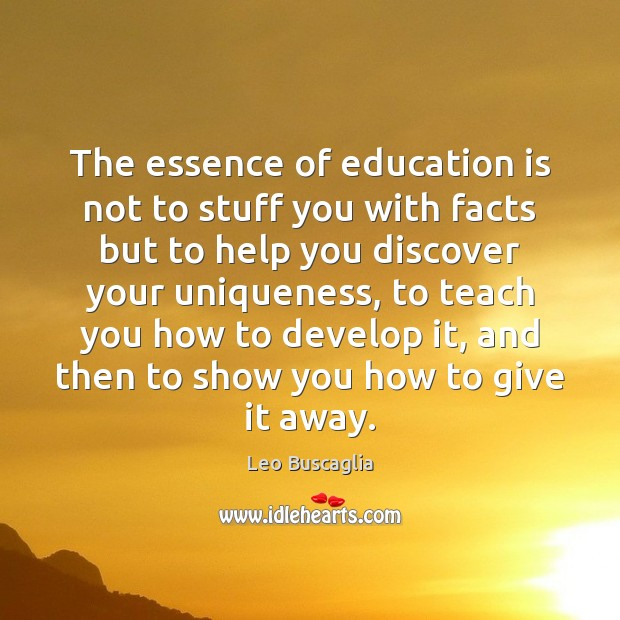 Image, The essence of education is not to stuff you with facts but
