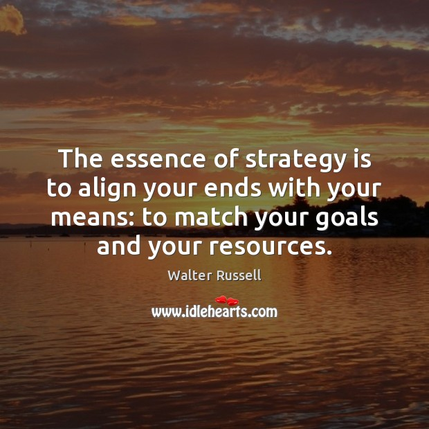 Image, The essence of strategy is to align your ends with your means: