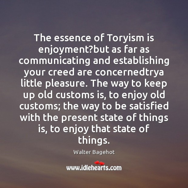 The essence of Toryism is enjoyment?but as far as communicating and Image