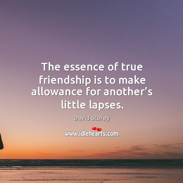 The essence of true friendship is to make allowance for another's little lapses. Image