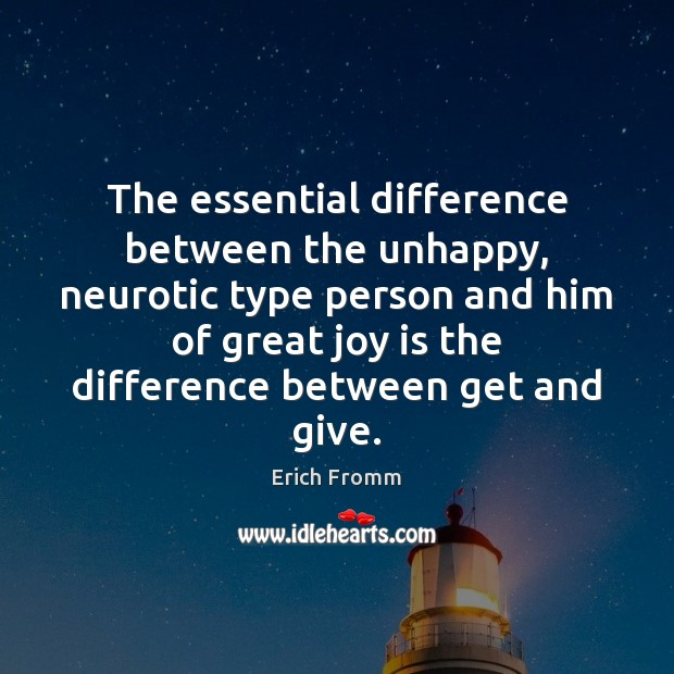 Image, The essential difference between the unhappy, neurotic type person and him of