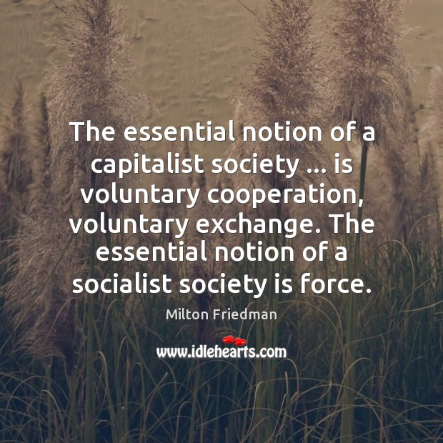 The essential notion of a capitalist society … is voluntary cooperation, voluntary exchange. Milton Friedman Picture Quote