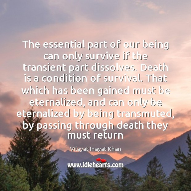 The essential part of our being can only survive if the transient Death Quotes Image